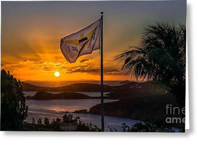 Charlotte Digital Art Greeting Cards - Virgin Island Sunset Greeting Card by Jogi Wolf