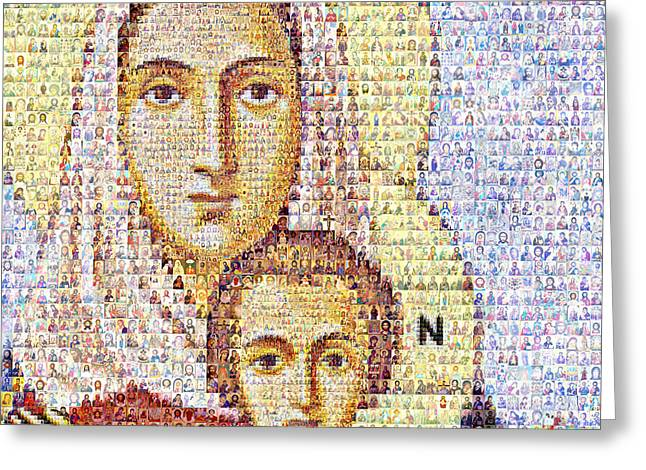 St Nicholas Icon Greeting Cards - Virgin Mari with the Child Christ Greeting Card by Temur Lursmanashvili