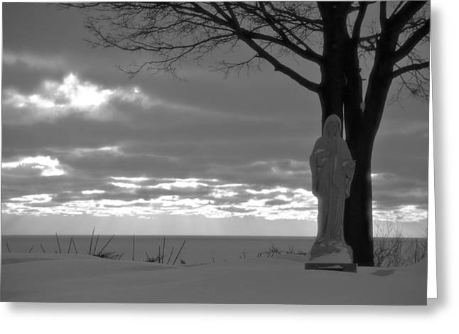 Virgin Mary Greeting Cards - Virgin Mary At Sunset in South Haven Michigan Greeting Card by Dan Sproul