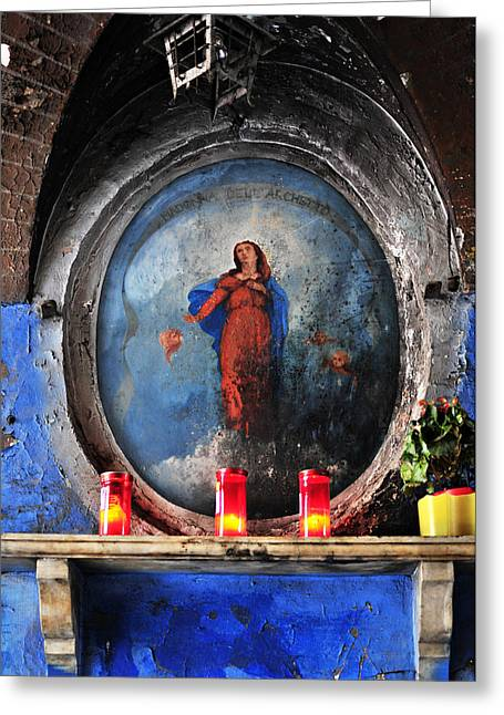 Virgin Mary Grotto In Rome Greeting Card by Angela Bonilla