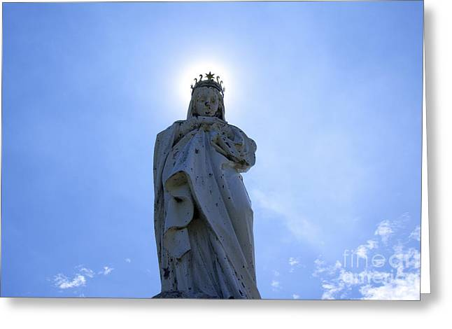 Virgin Mary Photographs Greeting Cards - Virgin Mary in backlight. Greeting Card by Bernard Jaubert