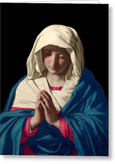 Rosary Mixed Media Greeting Cards - Virgin Mary in Prayer Greeting Card by Sassoferrato