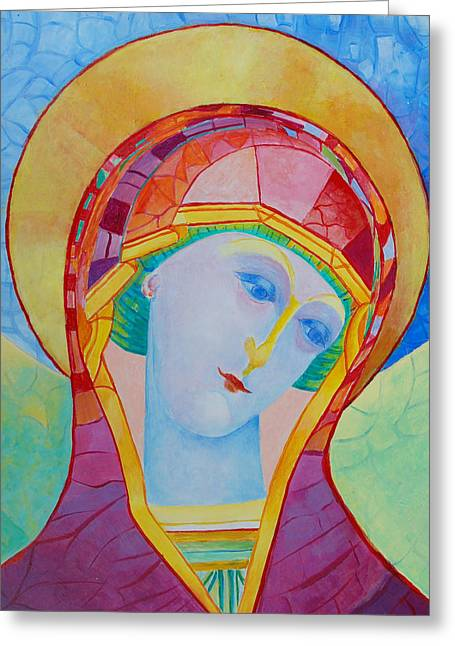 Byzantine Icon Greeting Cards - Virgin Mary modern icon Greeting Card by Magdalena Walulik