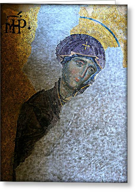 Icon Byzantine Greeting Cards - Virgin Mary Greeting Card by Stephen Stookey