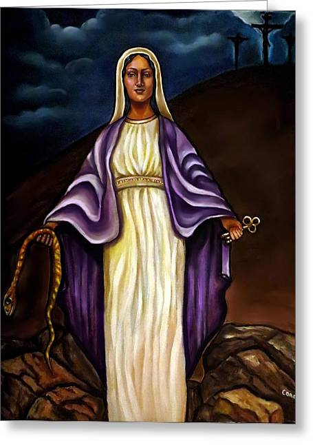 Best Sellers -  - Spiritual Portrait Of Woman Greeting Cards - Virgin Mary- The Protector Greeting Card by Carmen Cordova