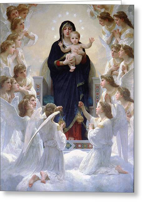 Christ Child Mixed Media Greeting Cards - Virgin Mary With Angels Greeting Card by Bouguereau