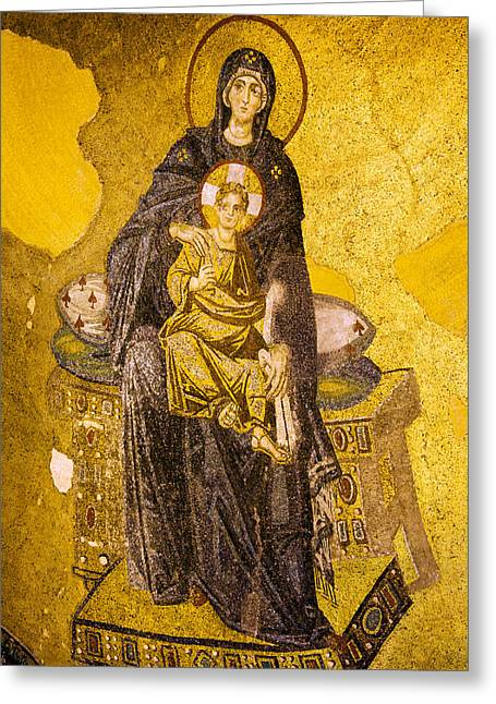 Icon Byzantine Photographs Greeting Cards - Virgin Mary with Baby Jesus Mosaic Greeting Card by Artur Bogacki