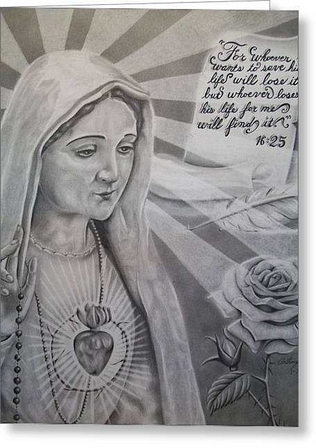Rosary Drawings Greeting Cards - Virgin Mary With Flower Greeting Card by Anthony Gonzalez