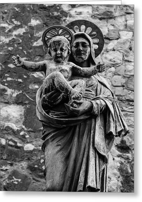 Virgin Mary Greeting Cards - Virgin Mary with Jesus Christ Greeting Card by Claire  Doherty