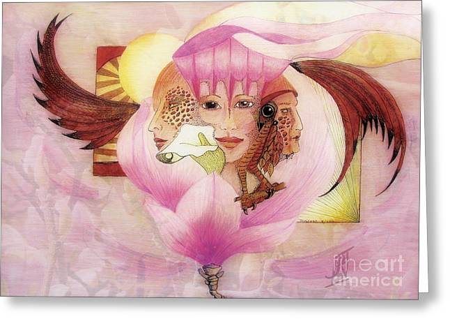 Coloured Greeting Cards - Virgin Mother Crone 2 Greeting Card by Rosy Hall