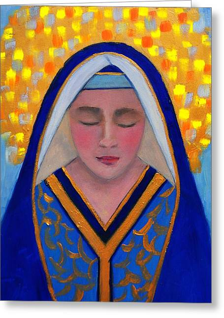 Catholic work Paintings Greeting Cards - Virgin Mother Greeting Card by Valerie Bassett