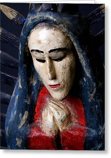 Wood Carving Greeting Cards - Virgin of Guadalupe Greeting Card by Joe Kozlowski