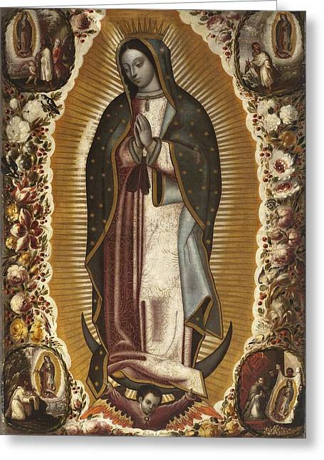 Bible Greeting Cards - Virgin of Guadalupe Greeting Card by Libellule Gallery
