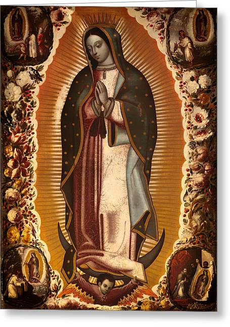Catholic work Paintings Greeting Cards - Virgin of Guadalupe Greeting Card by Manuel de Arellano