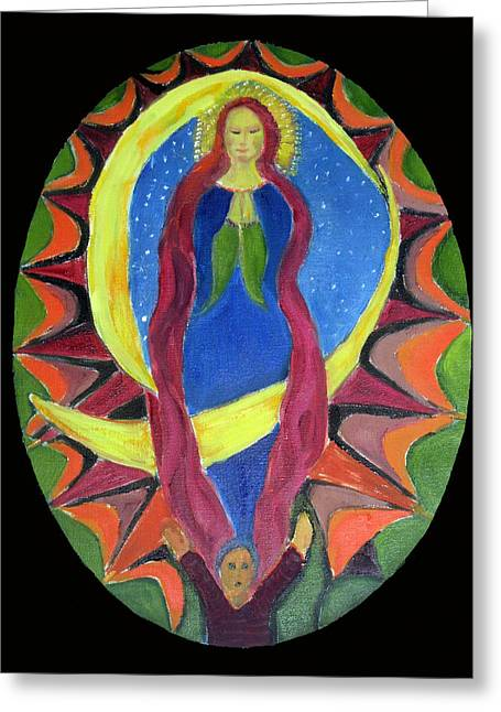 Religious Paintings Greeting Cards - Virgin of Guadalupe Greeting Card by Marielouise  Ertle