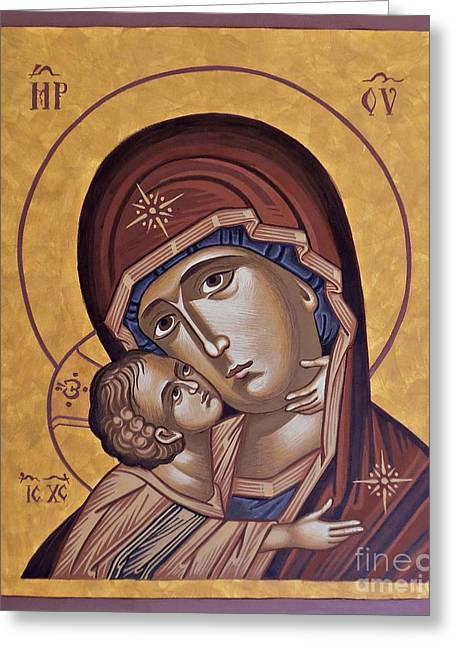 Byzantine Icon Greeting Cards - Virgin of Tenderness Greeting Card by Dumitru Ursu