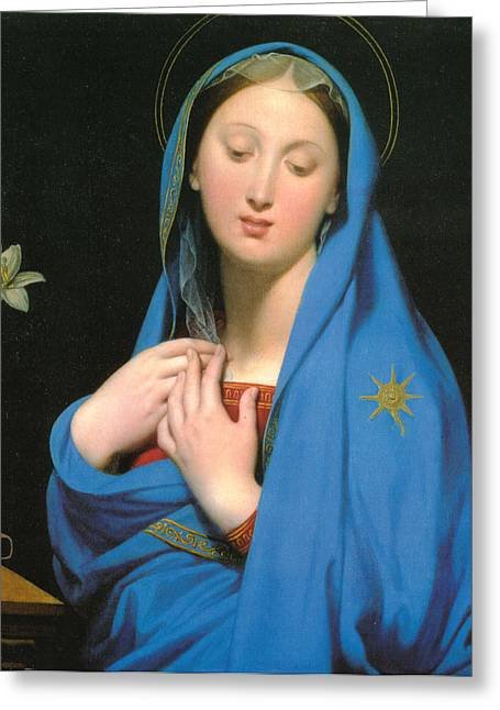 Shroud Digital Greeting Cards - Virgin Of The Adoption Greeting Card by Jean Auguste Dominique Ingress