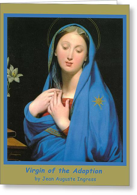 Shroud Digital Greeting Cards - Virgin Of The Adoption Poster Greeting Card by Jean Auguste Dominique Ingress