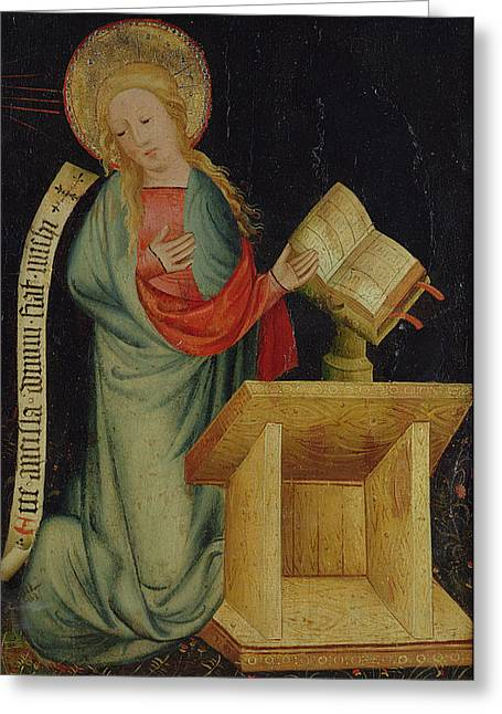 Right Wing Greeting Cards - Virgin Of The Annunciation, From The Harvester Altar, C.1410 Tempera On Oak See Also 145253 Greeting Card by Master Bertram of Minden