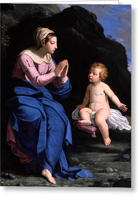 Madonna And Child Greeting Cards - Virgin of the Ghiara Greeting Card by Ludovico Lana