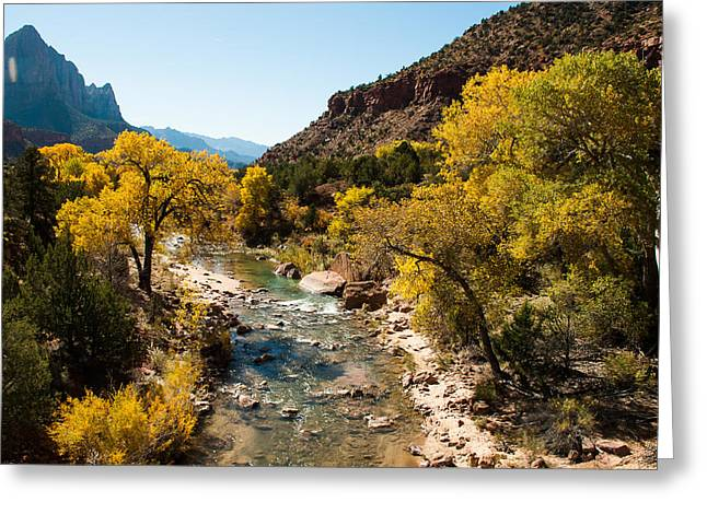 Geobob Greeting Cards - Virgin River and The Watchman in Autumn Zion National Park Greeting Card by Robert Ford