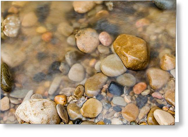Smooth Sandstone Greeting Cards - Virgin River Pebbles Greeting Card by Adam Pender