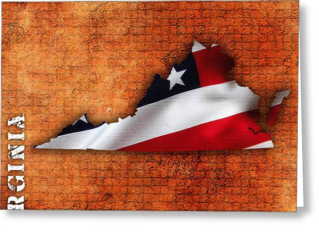Maps Greeting Cards - Virginia American Flag State Map Greeting Card by Marvin Blaine