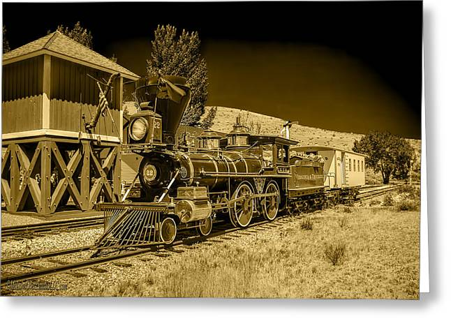 Train Greeting Cards - Virginia and Truckee Gold Rush Train 22 BW Greeting Card by LeeAnn McLaneGoetz McLaneGoetzStudioLLCcom