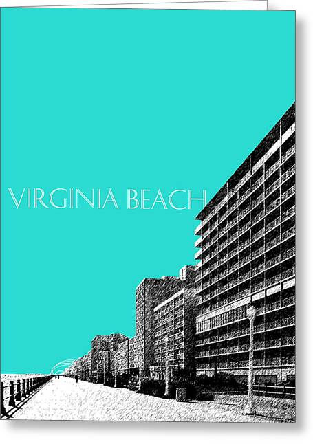 Office Decor Greeting Cards - Virginia Beach Skyline Boardwalk  - Aqua Greeting Card by DB Artist