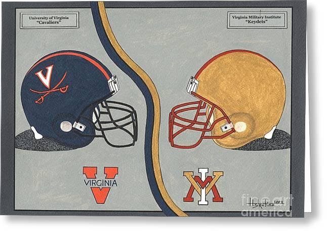 Vmi Greeting Cards - Virginia Cavaliers and VMI Keydets Helmets Greeting Card by Herb Strobino