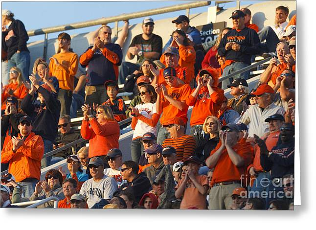 Applaud Photographs Greeting Cards - Virginia Cavaliers Football Fans Scott Stadium Greeting Card by Jason O Watson