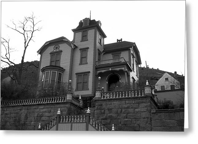 Black Greeting Cards - Virginia City Castle Greeting Card by Melissa Coffield