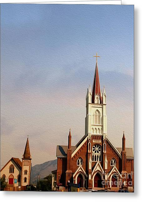 1876 Photographs Greeting Cards - Virginia City Churches Greeting Card by Cheryl Young