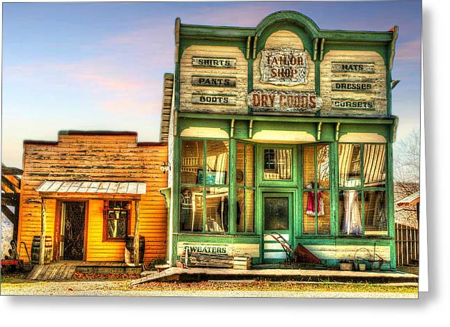 Sled.fence Greeting Cards - Virginia City Dry Goods Greeting Card by Mary Timman