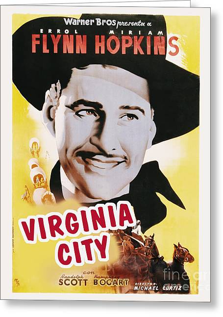 Classic Hollywood Photographs Greeting Cards - Virginia City Movie Poster Errol Flynn Greeting Card by MMG Archive Prints