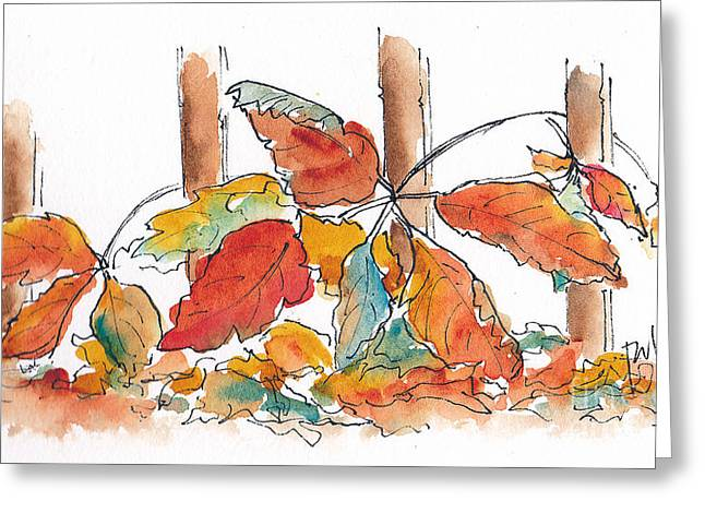 Turning Leaves Greeting Cards - Virginia Creeper Welcomes Fall Greeting Card by Pat Katz