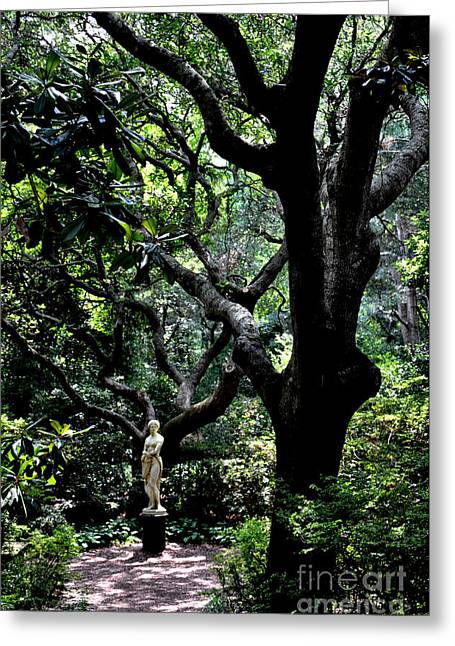 Garden Statuary Greeting Cards - Virginia Dare Statue in Elizabethan Gardens Greeting Card by Tanya  Searcy