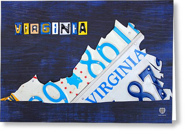 Highway Greeting Cards - Virginia License Plate Map Art Greeting Card by Design Turnpike