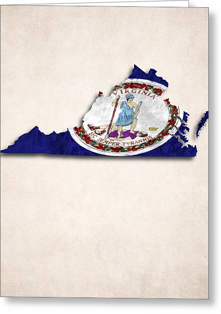 Flags Greeting Cards - Virginia Map Art with Flag Design Greeting Card by World Art Prints And Designs