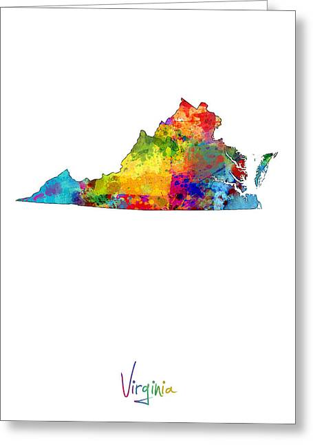 Richmond Greeting Cards - Virginia Map Greeting Card by Michael Tompsett