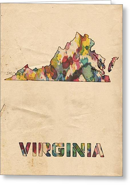 Virginia Beach Greeting Cards - Virginia Map Vintage Watercolor Greeting Card by Florian Rodarte