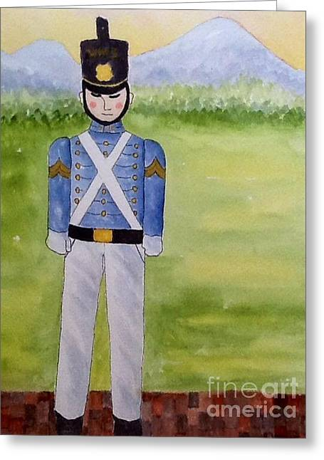 School Houses Mixed Media Greeting Cards - Virginia Military Institute Cadet Greeting Card by Bonnie Wright