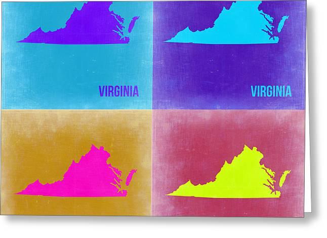 Virginia Greeting Cards - Virginia Pop Art Map 2 Greeting Card by Naxart Studio