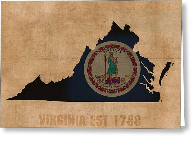 Roanoke Greeting Cards - Virginia State Flag Map Outline With Founding Date On Worn Parchment Background Greeting Card by Design Turnpike