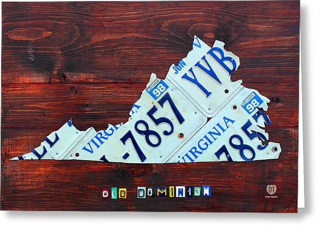 Virginia State License Plate Map Art On Fruitwood Old Dominion Greeting Card by Design Turnpike