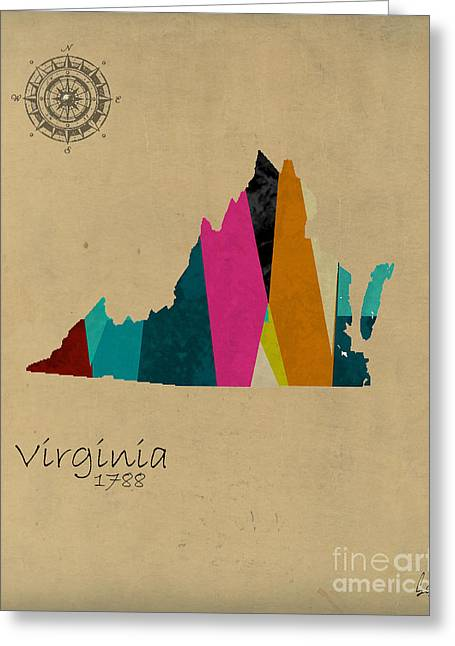 Abstract Map Greeting Cards - Virginia State Map Greeting Card by Bri Buckley