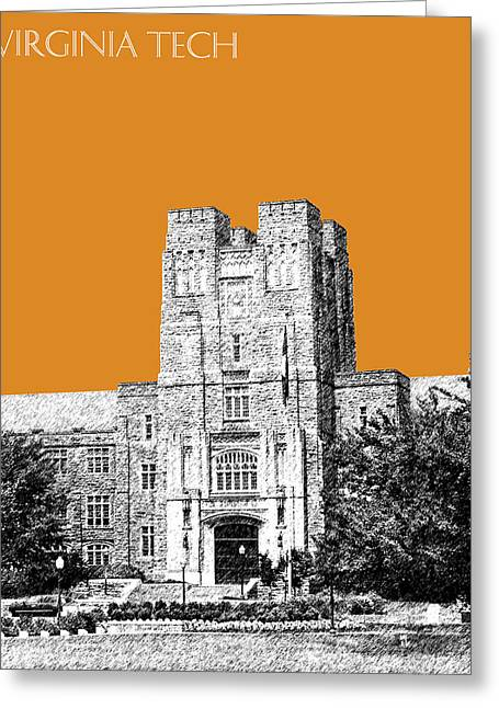 College Room Greeting Cards - Virginia Tech - Dark Orange Greeting Card by DB Artist