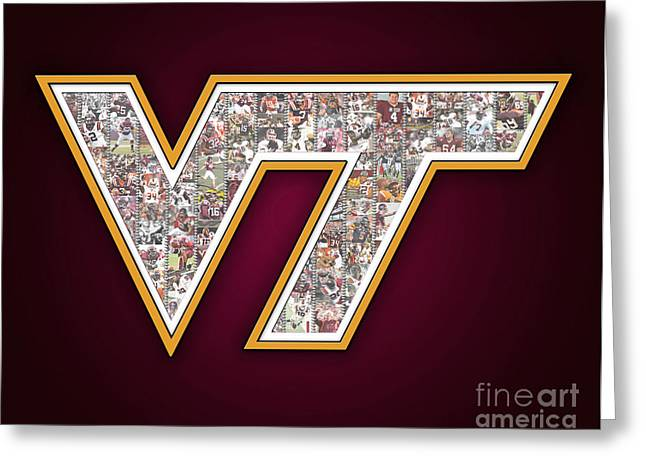 Hokies Greeting Cards - Virginia Tech College Football Greeting Card by Fairchild Art Studio