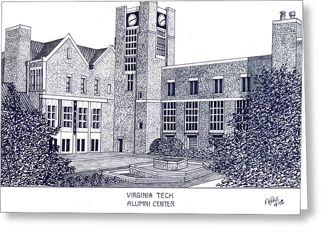 Pen And Ink Framed Prints Greeting Cards - Virginia Tech Greeting Card by Frederic Kohli