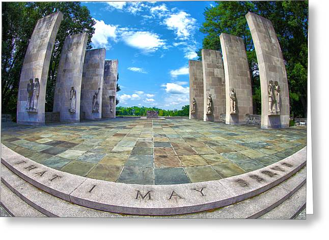 Virginia Tech Greeting Cards - Virginia Tech War Memorial Greeting Card by Mitch Cat